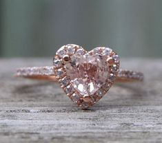 Heart peach champagne rose gold diamond ring