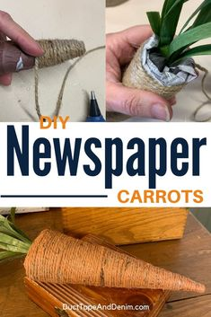 Make your own Easter decor with this easy carrot craft -- We show you how to make carrots out of stacks of old newspapers! Carrot Craft, Easter Crafts, Easter Ideas, Old Baskets, Diy Easter Decorations, Homemade Vanilla, How To Make Diy, Diy Wood Projects, Spring Crafts