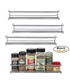 """Amazon.com: Set of 4 Chrome Wall-Mount Spice Racks - Single Tier Hanging Organizers for Pantry - Over Stove, Kitchen Cupboard and Closet Door Storage - by Unum - 11 3/8""""L x 3""""D x 2""""H: Kitchen & Dining"""