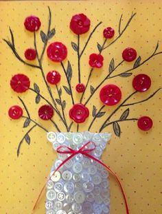 Button Art – Yahoo image search results - and Crafts To Make, Crafts For Kids, Arts And Crafts, Paper Crafts, Diy Crafts, Summer Crafts, Fall Crafts, Diy Buttons, Vintage Buttons