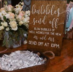 Bubbles Send Off Wedding Exit Sign Wooden by DownYonderDecals