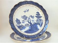Dinner Plate Booths Real Old Willow Pair Vintage Blue and