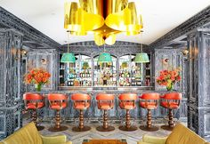 Ken Fulk Inc. is behind this stunning cérused wood paneled bar for private SF social club The Battery