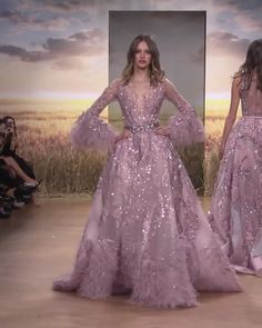 Ziad Nakad Look Spring Summer 2018 Haute Couture Collection - Beautiful Embroidered Lipstick Pink A-Lane Evening Dress / Evening Ball Gown with Long Sleeves and - Haute Couture Dresses, Couture Mode, Couture Fashion, Juicy Couture, Elegant Dresses, Pretty Dresses, Bridal Dresses, Prom Dresses, Dresses Dresses