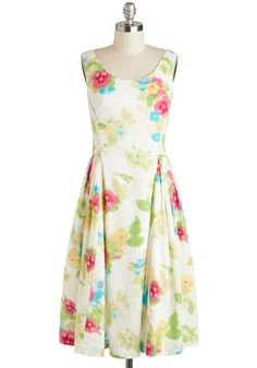 Classy Reunion Dress, #ModCloth $109 - I so want to wear this with ballet slippers and pretend to be walking to the movies on a summer evening in Mayberry!