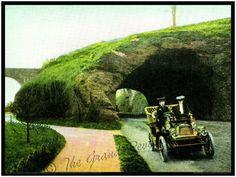 Vintage Philadelphia Print - Fairmount Park - The Rock Tunnel - East River Drive - Lady Drivers In A Beautiful Brass Age Automobile