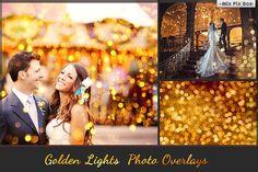 80 Golden lights Photo Overlays by MixPixBox on @creativemarket