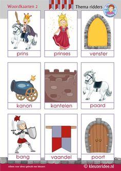 Woordkaarten 2 thema ridders voor kleuters, kleuteridee, Preschool knights theme, free printable.: