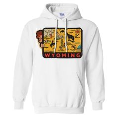 Vintage State Sticker Wyoming Sweatshirt Hoodie - California Republic Clothes
