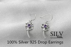 100% серебряные ювелирные изделия серебра женский клевер серьги серебро серьги Высокое качествокупить в магазине Victoria Fashion(Wholesale Free DHL if order >$299 for jewelr)наAliExpress
