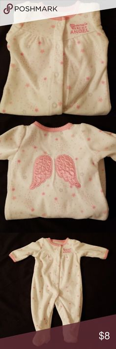 Newborn Onesie Pink and white onesie with angel wings. Never worn, only washed in cold water with Draft detergent. Too small for newborn baby. Just One You by Carter's One Pieces