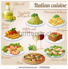 Dinner Dishes, Pasta Dishes, Italian Dishes, Italian Recipes, Italian Food Restaurant, Food Clipart, Cute Food Art, Food Cartoon, Italy Food