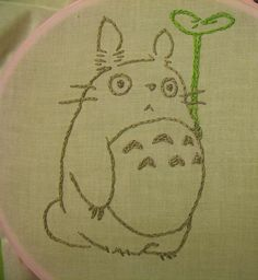 Totoro idea for my quilt Hand Embroidery Art, Modern Embroidery, Cross Stitch Embroidery, Embroidery Patterns, Cross Stitch Patterns, Totoro, Ghibli, Learning To Embroider, Stitch Witchery