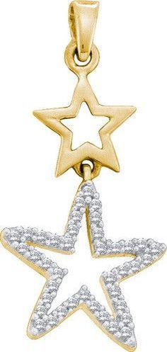 10k Yellow Gold 0.11 ctw Diamond Star Pendant