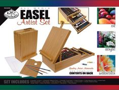 Royal 104 Piece All Media Artist Easel Set. Quality constructed wooden case, hinged and latched, holds all the essentials for sketching, drawing, and painting.a fifth easel! Artist Materials, Craft Materials, Leather Craft Kits, Acrylic Brushes, Paint Tubes, Craft Kits For Kids, Wooden Case, Bob Ross, Paint Set
