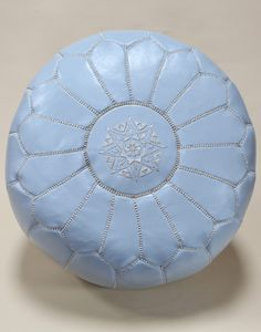 FILLED MOROCCAN LEATHER POUFFE - POWDER BLUE - H30 W50CM