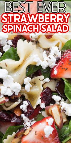 The best strawberry spinach salad recipe! And an easy balsamic vinagrette recipe to go with it! So yummy! The best strawberry spinach salad recipe! And an easy balsamic vinagrette recipe to go with it! So yummy! Pasta Salad With Spinach, Spinach Salad Recipes, Best Pasta Salad, Chicken Salad Recipes, Healthy Salad Recipes, Soup And Salad, Pasta Salad With Chicken, Sweet Pasta Salads, Healthy Pasta Salad