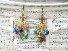jeweled cross earrings chandelier assemblage by lilyofthevally