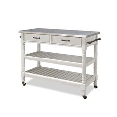 Home Styles Savannah Kitchen Cart in White with Stainless Top-5219-95 - The Home…