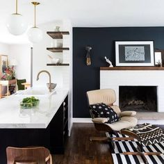 Trend We're Loving: Deep Blues + Dark Wood Rooms: white, blue, and wooden