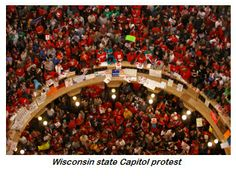 A crowd estimated to be 100,000 strong rallied at the Wisconsin state Capitol in protest of what was ultimately was to become a successful push by the state's Republican majority to cripple public employee bargaining rights – 2011