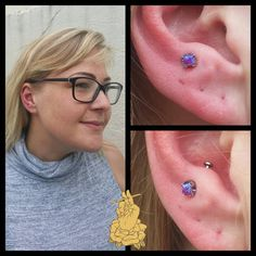 princess cut purple opal from for this fresh anti-tragus. Anti Tragus Piercing, Piercing Tattoo, Body Piercing, Ear Piercings, Stretched Lobes, Peircings, Body Mods, Ring Necklace, Princess Cut