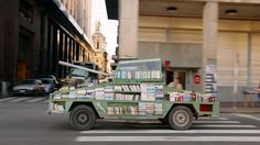 Weapons of Mass Instruction: A 1979 Ford Falcon converted into a tank armored with 900 free books. http://www.thisiscolossal.com/2015/03/weapons-of-mass-instruction-book-tank/