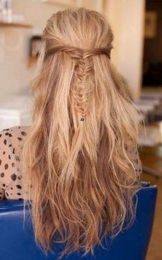fishtail half up braid