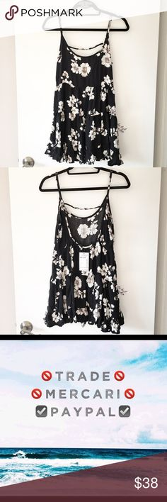 BNWT black and white floral print Jada dress With adjustable straps, cotton and viscose   ❌ lowballers will be blocked  Brandy Melville Dresses Mini