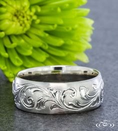 Scroll Engraved Wedding Band. Green Lake Jewelry