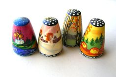 Vintage Thimble Lot  Wooden Thimbles  Russian by 2VintageGypsies
