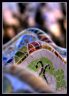 """Gaudi was pioneer in the technology of the """"Trencadis"""" creating ceramic mosaics elaborated with chunks of ceramic tiles. Each of the pieces of the mosaic are called """"Teselas"""". ~~ For more:  - ✯ http://www.pinterest.com/PinFantasy/arq-~-antoni-gaud%C3%AD/"""