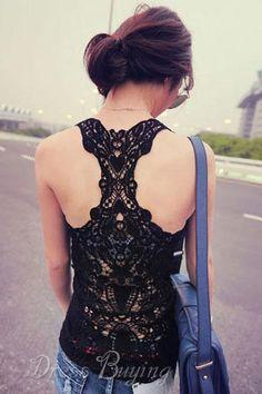 Crochet Lace Racer Back Tank Top Camisole Vest Basic Layer Fashion Moda, Womens Fashion, Fashion 2014, Fashion Online, Black Lace Tank Top, Fru Fru, Lace Vest, Costume, Sexy
