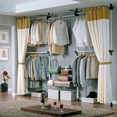 Built-in Closet: I quite like this arrangement. The curtains are unnecessary. (Found on TaoBao)
