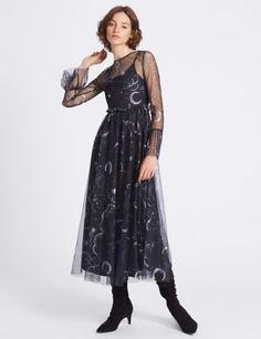 Printed Mesh Flared Sleeve Midi Dress | M&S