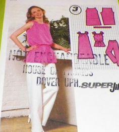 Uncut 70s Summer Top and Pants Sewing by hookandneedlepattern, $6.00