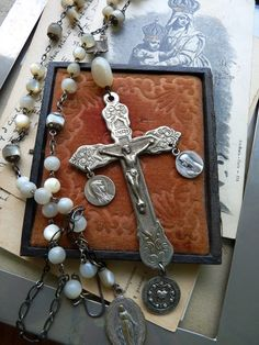 Your place to buy and sell all things handmade Rosary Beads, Religious Jewelry, Our Lady, Pearl Beads, Gothic Fashion, French Antiques, Hand Carved, Jewlery, Carving