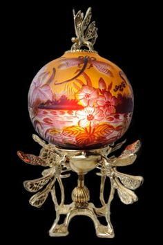 Table Lamp with dragonfly on swamp drawing in art nouveau style, Emile Galle reproduction