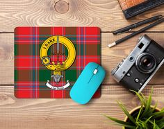 Rubber Mousemat with Dalziel Clan crest and tartan - only from ScotClans