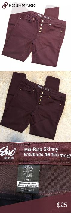 Dark Maroon Mid Rise Skinny Jeans Worn once! In perfect condition! Mossimo Supply Co Jeans Skinny
