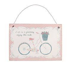 A vintage pink sign for the home, complete with a wire hanger for hanging on hooks or nails.   Reads: Life is a journey enjoy the ride     My size: 15cm x 22cm  Price: 4.99