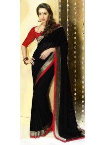 Magnifique Sari Noir en Mousseline