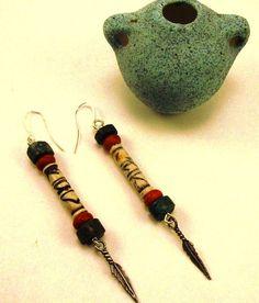 Ethnic Tribal Gypsie Boho Bone Turquoise Silver Feathers Earrings Burner Southwestern Native American #403