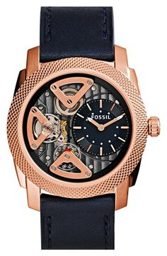 Fossil 'Machine Twist' Leather Strap Watch, 45mm available at #Nordstrom