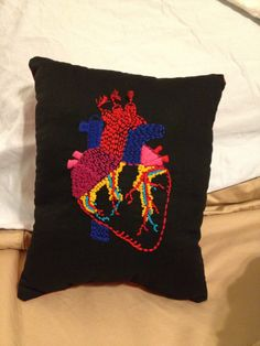 The pillow I embroidered for my Anatomy teacher....❤️