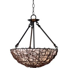 """Kenroy Thicket 16"""" Wide Bronze Rattan Pendant (1.579.210 IDR) ❤ liked on Polyvore featuring home, lighting, ceiling lights, brown, chandeliers, bronze lamp, rattan hanging lamp, bronze chandelier lighting, bronze lighting and kenroy home lighting"""