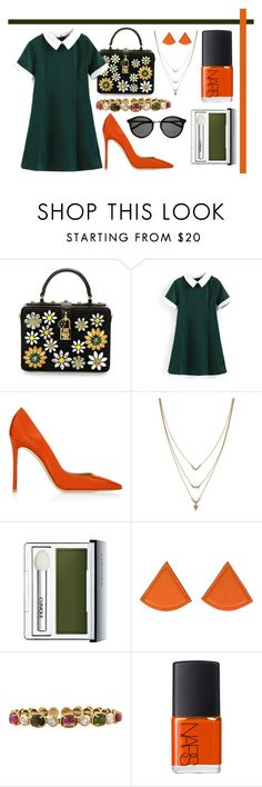 """""""Untitled #259"""" by romi-kella on Polyvore featuring Dolce&Gabbana, Gianvito Rossi, Jessica Simpson, Clinique, Hermès, NARS Cosmetics and Yves Saint Laurent"""