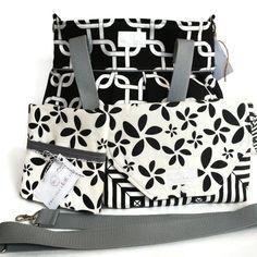 Diaper Bag Gift Set - Black Gotcha Diaper Bag - Black Floral Diaper Clutch Set - Messenger Strap