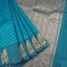 Handloom Blue Pure Zari Jacquard Kanjivaram Silk Saree With Paisley Motifs & Peacock Border 10016811 - AVISHYA.COM