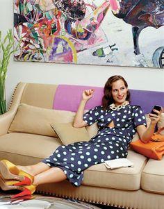 Dellal kicks back in her living room. Miu Miu dress. Louis Vuitton necklace. Charlotte Olympia pumps (throughout).   - HarpersBAZAAR.com